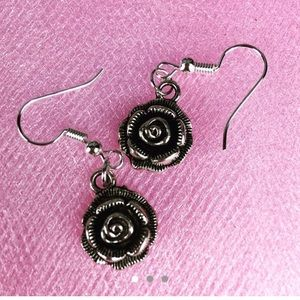 $3/$15 Silver Tone Rose Floral Dangle Earrings